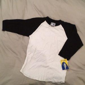 BNWT Baseball softball shirt top black white